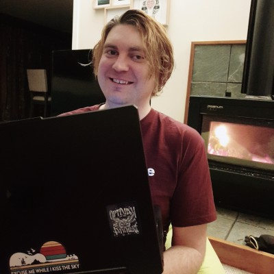 Sitting by the fireplace while participating in DrupalCon Global 2020 from New Zealand!
