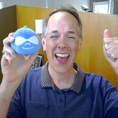 Silly photo of myself with plush Drupal toy